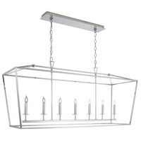 Cage 7 Light 18 inch Polished Nickel Linear Pendant Ceiling Light, Linear