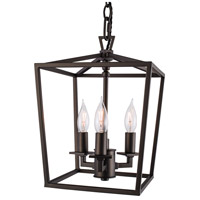 Norwell 1084-BR-NG Cage 3 Light 9 inch Bronze Mini Pendant Ceiling Light