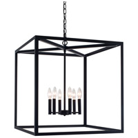 Judith 6 Light 22 inch Matte Black Cage Pendant Ceiling Light, Square