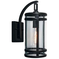 New Yorker 1 Light 14 inch Acid Dipped Black Outdoor Wall Light