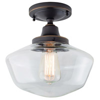 Norwell 5361F-OB-CL Schoolhouse 1 Light 10 inch Oil Rubbed Bronze Indoor Flushmount Ceiling Light