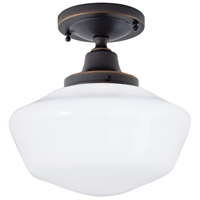 Norwell 5361F-OB-SO Schoolhouse 1 Light 10 inch Oil Rubbed Bronze Indoor Flushmount Ceiling Light in Splashed Opal