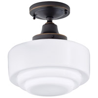 Schoolhouse 100 Light 10 inch Oil Rubbed Bronze Flush Mount Ceiling Light in Stepped