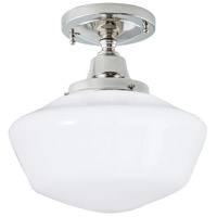 Norwell 5361F-PN-SO Schoolhouse 1 Light 10 inch Polished Nickel Indoor Flushmount Ceiling Light in Splashed Opal