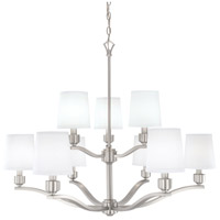 Roule 9 Light 35 inch Brushed Nickel Chandelier Ceiling Light