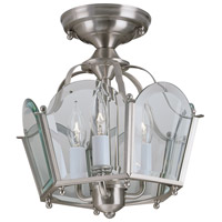 Legacy 3 Light 11 inch Brushed Nickel Semi-Flush Mount Ceiling Light, Convertible