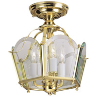 Legacy 3 Light 11 inch Polished Brass Semi-Flush Mount Ceiling Light, Convertible