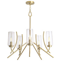 Norwell 8154-SB-CL Tulip 5 Light 23 inch Satin Brass Chandelier Ceiling Light