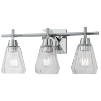 Norwell 8283-PN-CL Arctic 3 Light 20 inch Polished Nickel Bath Light Wall Light
