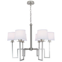 Maya 6 Light 30 inch Brushed Nickel Chandelier Ceiling Light, 6 Arm