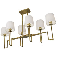 Norwell 9678-AG-WS Maya 6 Light 48 inch Aged Brass Linear Chandelier Ceiling Light