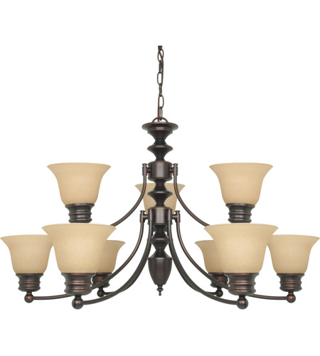 Nuvo 60/1275 Empire 9 Light 32 inch Mahogany Bronze Chandelier Ceiling Light photo