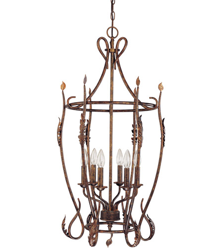 Nuvo Lighting Trellio 6 Light Caged Pendant in Autumn Gold 60/1427 photo