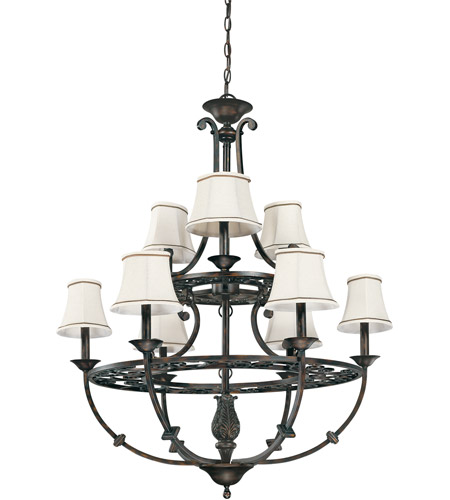 Nuvo Lighting Pickford 9 Light Chandelier in Distressed Bronze 60/1563 photo