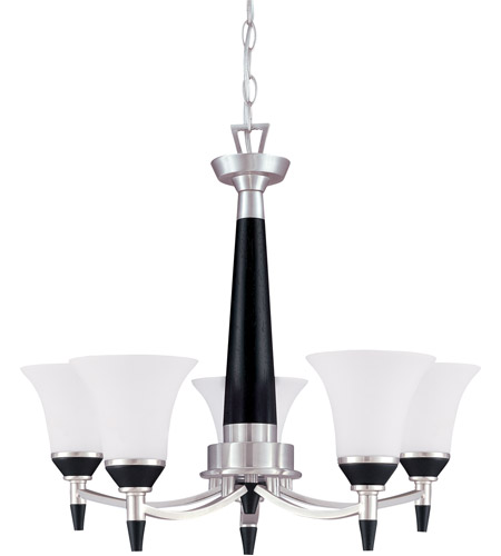 Nuvo Lighting Keen 5 Light Chandelier in Nickel & Black 60/1742 photo