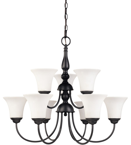 Nuvo 60/1923 Dupont 9 Light 28 inch Dark Chocolate bronz Chandelier Ceiling Light photo