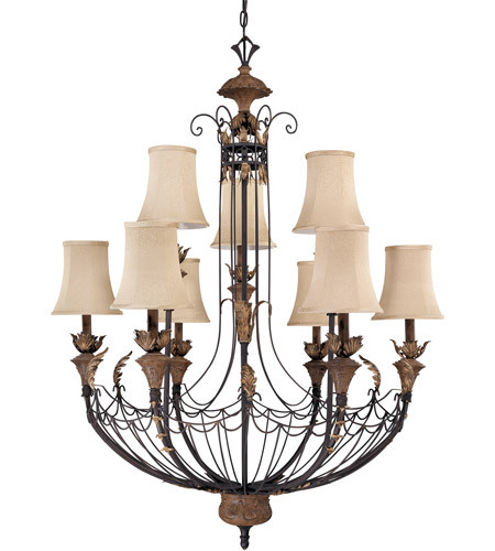 Nuvo Lighting Verdone 9 Light Chandelier in Gilded Cage 60/2103 photo