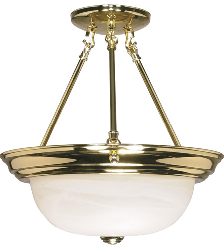Nuvo Lighting Signature 2 Light Semi-Flush in Polished Brass 60/217 photo