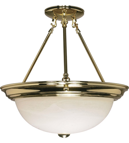 Nuvo 60/218 Signature 3 Light 15 inch Polished Brass Semi-Flush Ceiling Light photo