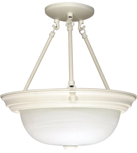 Nuvo 60/226 Signature 3 Light 15 inch Textured White Semi-Flush Ceiling Light photo
