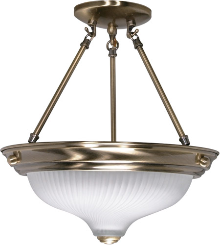 Nuvo 60/241 Signature 2 Light 13 inch Antique Brass Semi-Flush Ceiling Light photo
