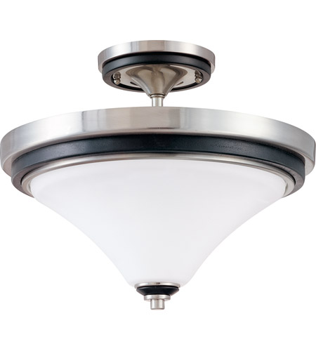 Nuvo Lighting Keen 2 Light Semi-Flush in Nickel & Black 60/2461 photo