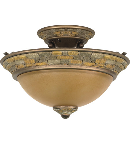 Nuvo Lighting Rockport Tuscano 2 Light Semi-Flush in Dorado Bronze 60/2471 photo