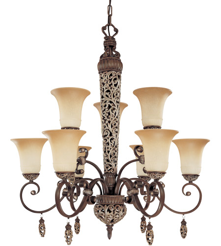 Nuvo Lighting Palermo 9 Light Chandelier in Cappuccino 60/2703 photo