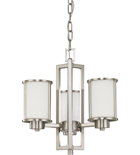 Nuvo 60 2851 Odeon 3 Light 18 Inch Brushed Nickel Chandelier Ceiling