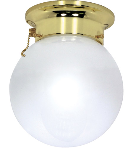 Nuvo Lighting Signature 1 Light Flushmount in Polished Brass 60/295 photo