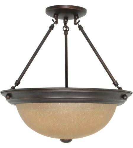 Nuvo 60/3111 Signature 3 Light 15 inch Mahogany Bronze Semi-Flush Ceiling Light photo