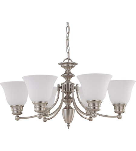 Nuvo 60/3255 Empire 6 Light 26 inch Brushed Nickel Chandelier Ceiling Light photo