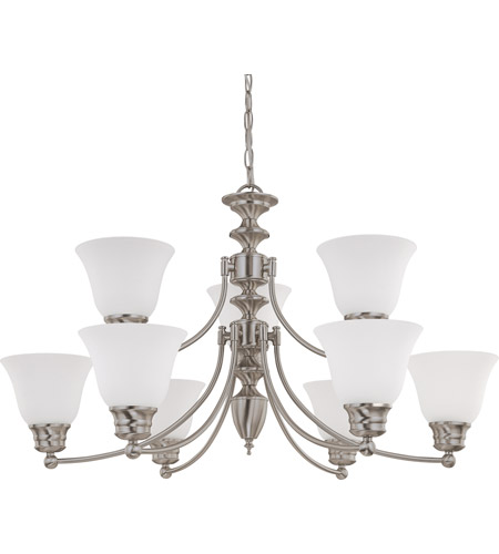 Nuvo 60/3256 Empire 9 Light 32 inch Brushed Nickel Chandelier Ceiling Light photo