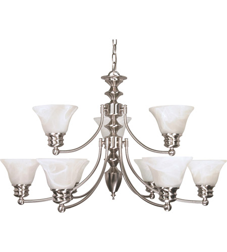 Nuvo 60/360 Empire 9 Light 32 inch Brushed Nickel Chandelier Ceiling Light photo