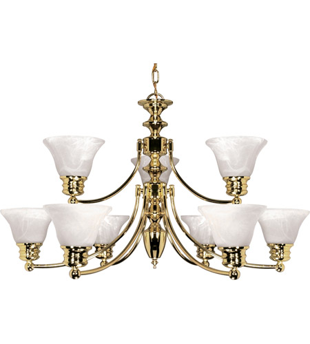 Nuvo 60/361 Empire 9 Light 32 inch Polished Brass Chandelier Ceiling Light photo
