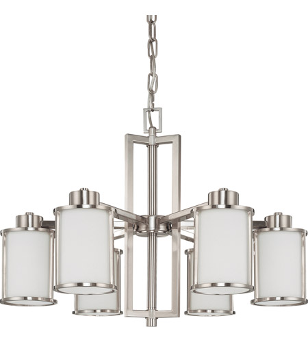 Nuvo 60/3806 Odeon 6 Light 28 inch Brushed Nickel Chandelier Ceiling Light photo