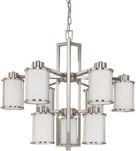 Nuvo 60/3809 Odeon 9 Light 30 inch Brushed Nickel Chandelier Ceiling Light photo