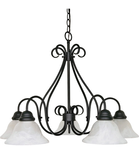 Nuvo 60/381 Castillo 5 Light 28 inch Textured Black Chandelier Ceiling Light photo
