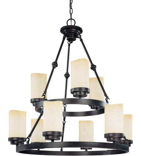 Nuvo Lighting Lucern 9 Light Chandelier in Patina Bronze 60/3849 photo