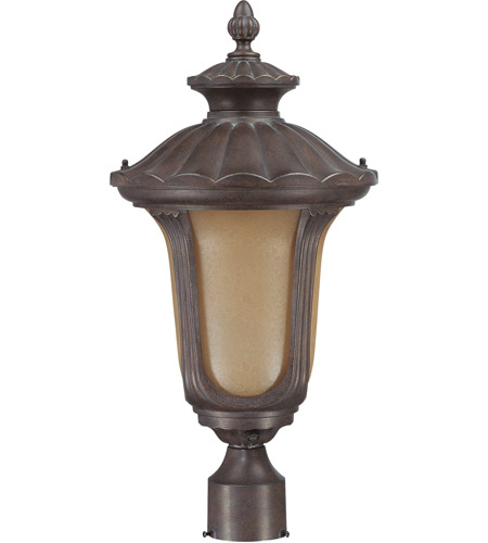 Nuvo Lighting Beaumont 1 Light Outdoor Post Lantern with Photocell in Fruitwood 60/3909 photo