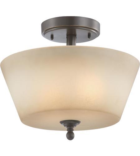 Surrey 2 Light 13 Inch Vintage Bronze Semi Flush Ceiling