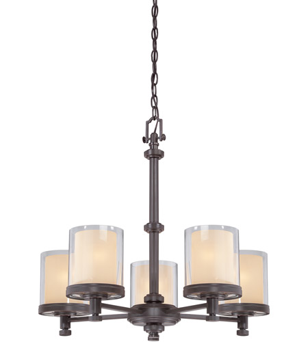 Nuvo 60/4545 Decker 5 Light 25 inch Sudbury Bronze Chandelier Ceiling Light photo