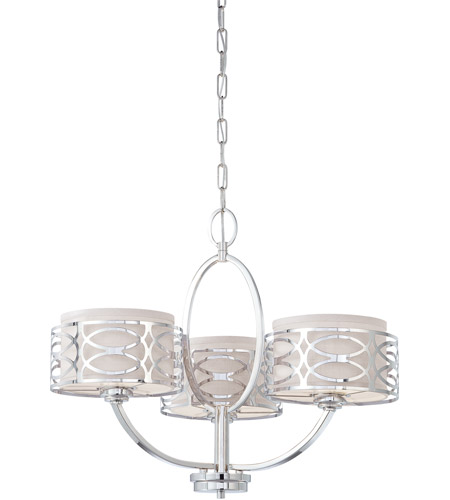 Nuvo 60/4624 Harlow 3 Light 25 inch Polished  Nickel Chandelier Ceiling Light photo