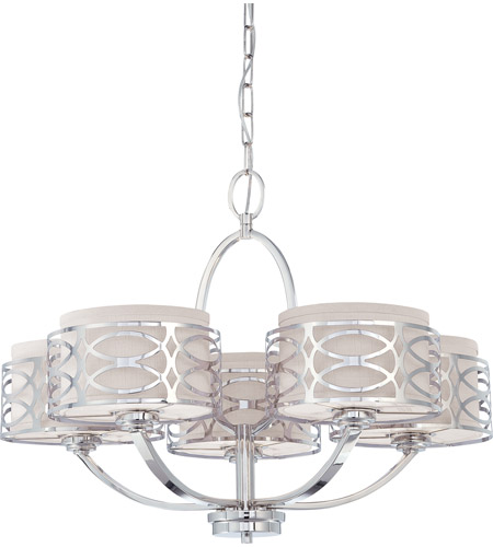 Nuvo 60/4625 Harlow 5 Light 28 inch Polished  Nickel Chandelier Ceiling Light photo