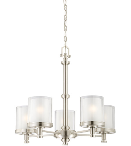 Nuvo 604645 decker 5 light 25 inch brushed nickel chandelier nuvo 604645 decker 5 light 25 inch brushed nickel chandelier ceiling light photo aloadofball Image collections