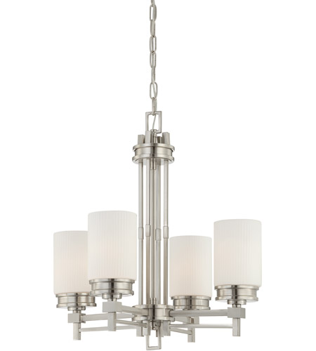 Nuvo 60/4707 Wright 4 Light 22 inch Brushed Nickel Chandelier Ceiling Light photo