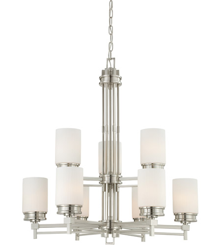 Nuvo 60/4709 Wright 9 Light 32 inch Brushed Nickel Chandelier Ceiling Light photo thumbnail
