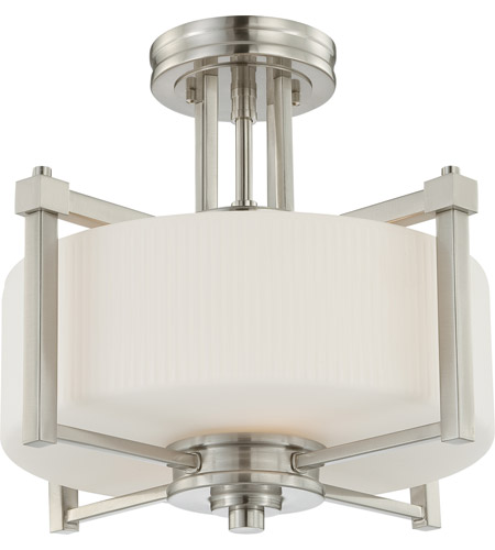 Nuvo 604713 wright 2 light 15 inch brushed nickel semi flush nuvo 604713 wright 2 light 15 inch brushed nickel semi flush ceiling light aloadofball Images