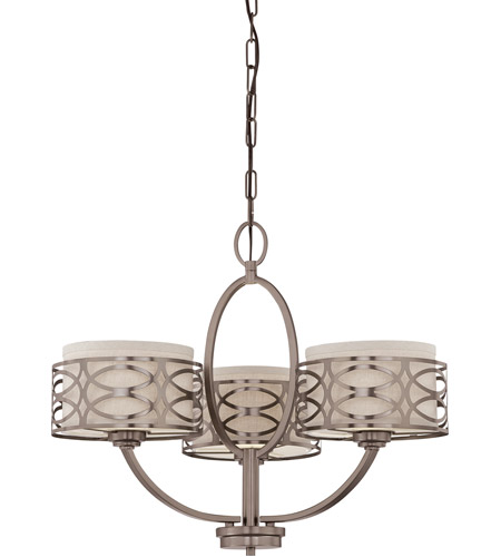 Nuvo 60/4724 Harlow 3 Light 25 inch Hazel Bronze Chandelier Ceiling Light photo