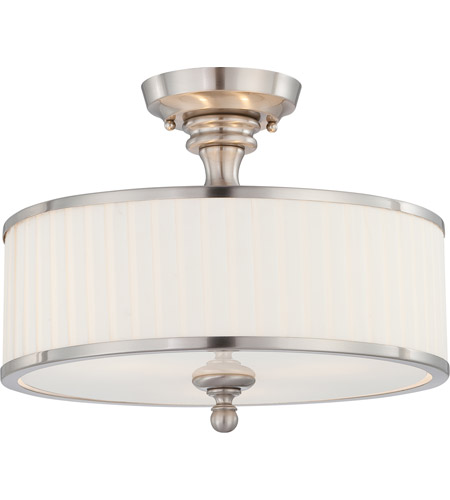 Nuvo 60 4737 Candice 3 Light 15 Inch Brushed Nickel Semi Flush Ceiling
